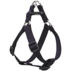 "LupinePet Basics 3/4"" Black 15-21"" Step In Harness for Small Dogs"