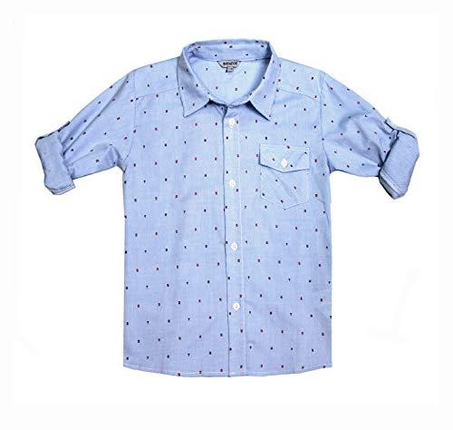 Bienzoe Boys Printed Cotton Roll Up Button Down Blue Sports Shirts -
