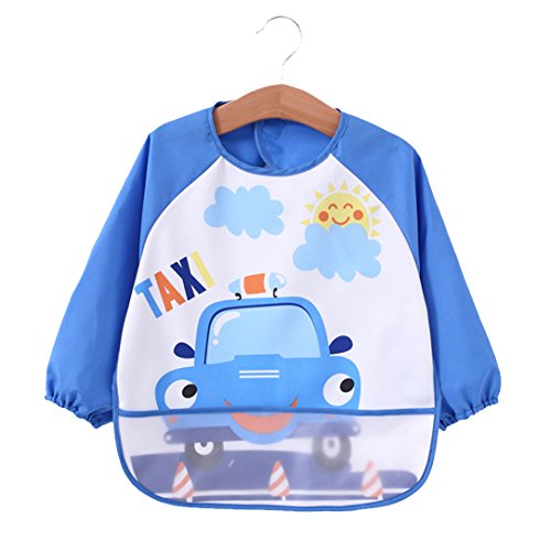 [2 pack] Baby bibs with pocket,Waterproof sleeved bib,100% polyester fiber Bibs for Teething Feeding Baby_CLRST5q by AaBbDd (Image #1)