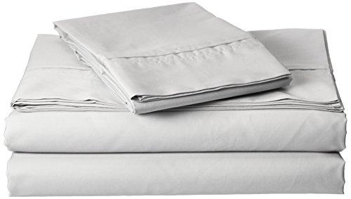 TRIBECA LIVING Egyptian Cotton Percale 350 Thread Count Deep Pocket Sheet Set Queen Silver ()