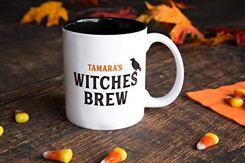 Personalized Halloween Mug Birthday Gifts - Unique Coffee Lovers Gift (11oz Halloween Mug, Tamara Design)]()