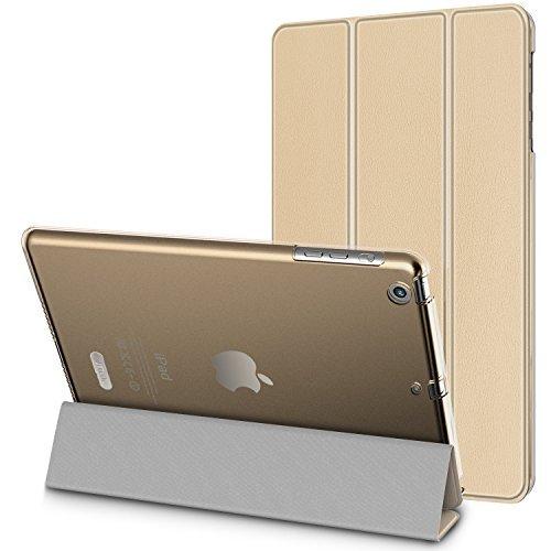 JETech iPad Mini Hülle Schutzhülle Etui Tasche Abdeckung Ledertasche mit Durchschaubar Rückseite für Apple iPad Mini 1/2/3 mit Automatischen Schlaf / Wake (Gold) - 0479C
