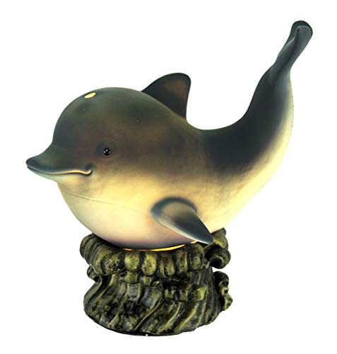 Grey Dolphin On Wave Porcelain and Resin Accent Lamp