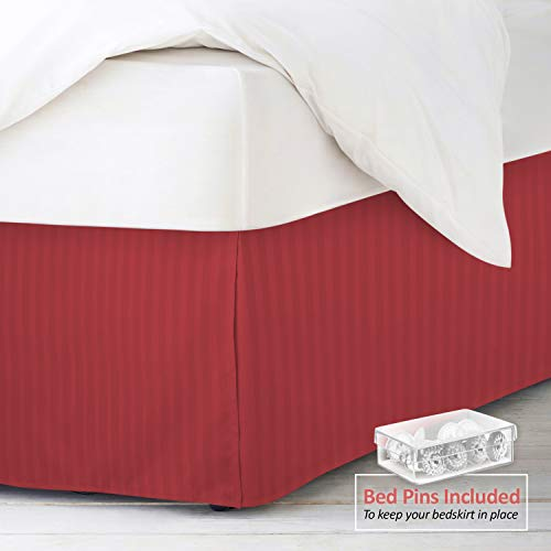 Nestl Bedding Pleated Bed Skirt - Damask Dobby Stripe Bed Skirt - Luxury Microfiber Dust Ruffle - 14
