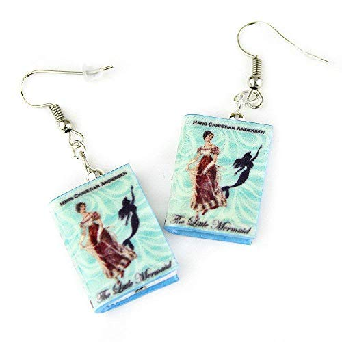 Granddaughter Collectible (LITTLE MERMAID Fairy Tale Princess Clay Mini Book HYPOALLERGENIC Earrings by Book Beads)