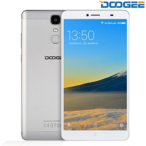 Unlocked Cell Phones, DOOGEE Y6 MAX 4G Android 6.0 Smartphone Unlocked - 6.5'' FHD Screen - 3GB RAM + 32GB ROM - 4300mAh Battery - 5MP+13MP Dual Camera - Fingerprint GPS - Dual SIM GSM Phones - Silver by Doogee