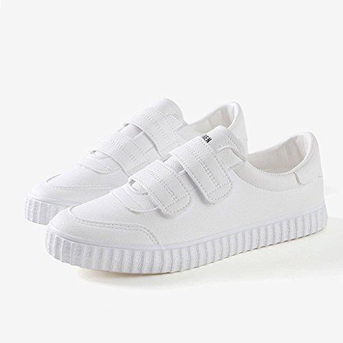 Occasionnels Chaussures Chaussures Blanc Plates à de roulettes étudiants Femmes Velcro de Mode Blanc Respirant Sneakers Planche qwXIBxf