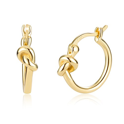 Love Knot Celtic 18K Gold Plated 925 Sterling Silver Minimalist Clip Top Earrings
