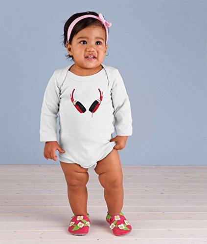 Black Red Dj Headphones Long Sleeve Baby Bodysuit One Piece White 12 Months