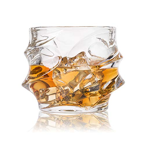GLASKEY Whisky Glass Set of 4, Lead Free Crystal Old Fashioned Glass, Cocktail Cool Rocks Glass Tumbler for Bourbon, Irish Whisky, Brandy and More, Scotch Glasses (NO.25)