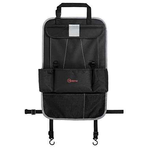 """Premium Portable & Waterproof Car Back Seat Stuff Organizer 7 Individual Pockets   Tablet, Pen/Pencil & Drink Holder   Back of The Seat Protector Toddlers Kick Mat   23"""" x 14"""" SDL Sales Limited"""