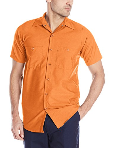 Red Kap Men's Industrial Work Shirt, Regular Fit, Short Sleeve, Orange, Medium]()