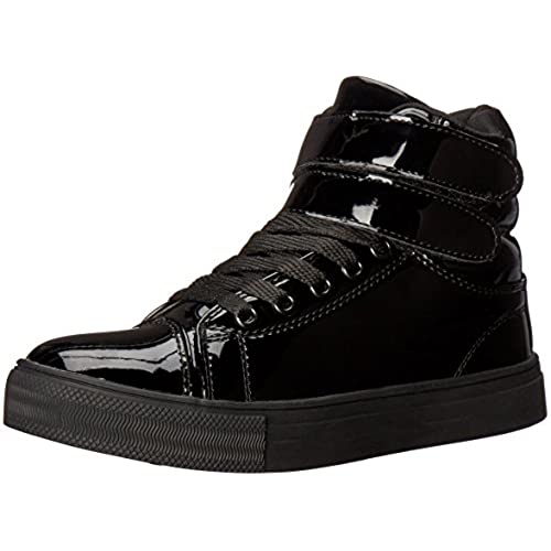 Alexandra Collection Kids Youth Liquid Shiny High Top Hip Hop Dance Sneakers  - Pink Or Black Black 2