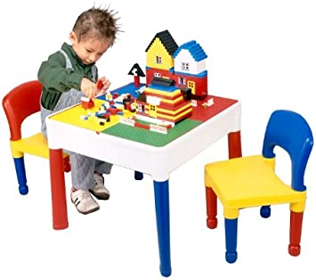 Liberty House - 5 en 1 Juego de mesa y dos sillas (superficie especial para juegos de bloques): Liberty House Square Activity Table and Chairs: Amazon.es: Juguetes y juegos