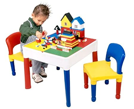 5 in 1 Activity Table & Chairs with Writing Top/Lego/Sand/Water ...