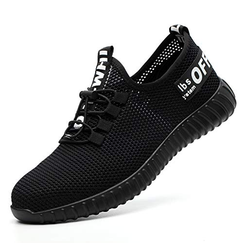 (SUADEX Indestructible Shoes Work Safety Shoes for Men Womens, Steel Toe Shoes Lightweight Breathable Toe Sneakers Construction Working Shoes for Hiking Trail Tennis Blackwhite Size 7.5 Women / 6 Men)