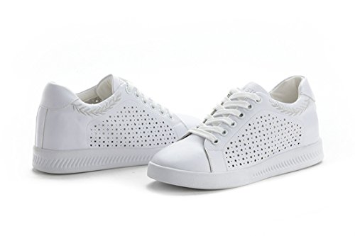Heel Shoes Lace DANDANJIE up Breathable Wedge Outdoor Women's Embroidery Sneakers Casual Shoes White Silver Hollow XXwzOqg