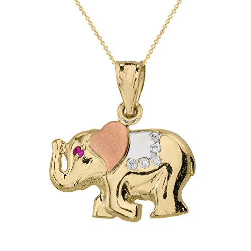 Solid 10k Three-Tone Gold CZ Good Luck Charm Asian Elephant Necklace, 16