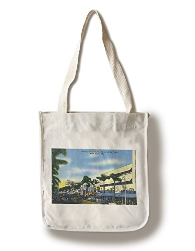 Miami Beach, Florida - View down Lincoln Road (100% Cotton Tote Bag - Reusable, Gussets, Made in - Road Miami Beach Shopping Lincoln