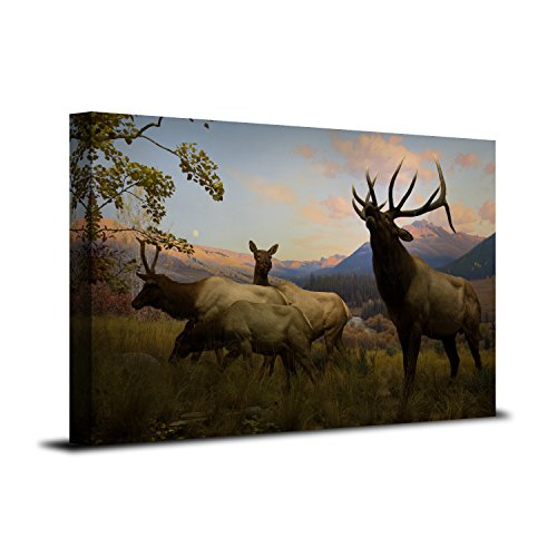 Royllent 1 Panel Framed Wall Art 12x20inch Elk Painting The Picture Print On Canvas For Home Decor Decoration Gift piece (Stretched By Wooden Frame,Ready To Hang) RA-CP0068