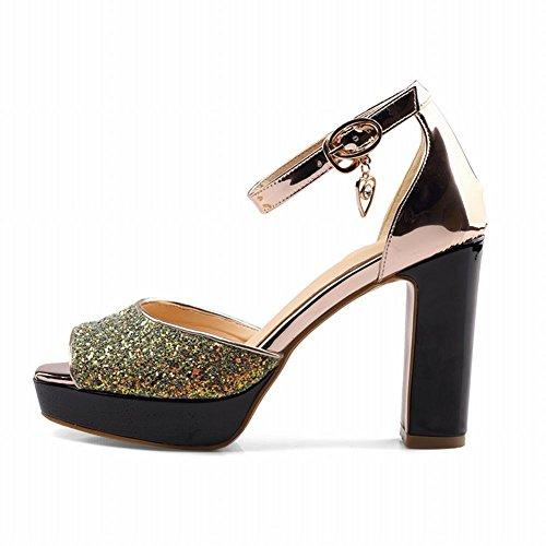 Mee Shoes Damen Peep toe Blockabsatz Pailletten Sandalen Gold