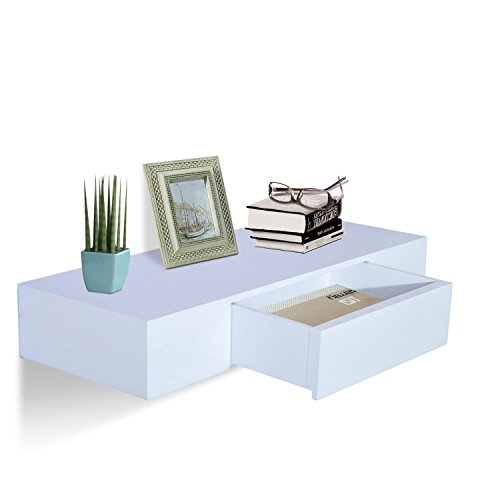"HOMCOM 24"" Modern Wall Mounted Floating Storage Shelf with Small Hidden Drawer"