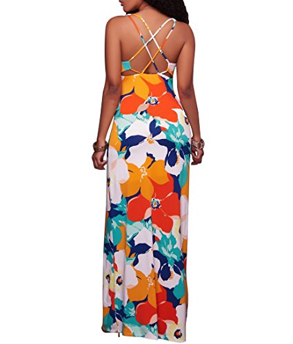 Gobought Women's Boho Sleeveless Crisscross Back Floral Print Long Maxi Dress - Orange Criss Cross