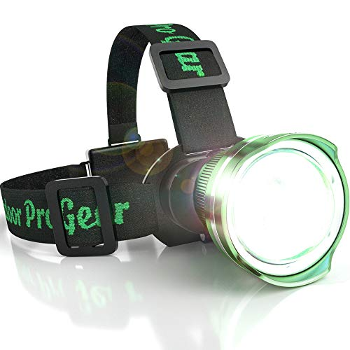 SUPER BRIGHT LED Headlamp Flashlight - Zoomable Broadbeam Spot Head Lamp - For Caving Spelunking Running Hunting Hiking Camping - Construction Hard Hat Work Light - For Men and Women (Green)