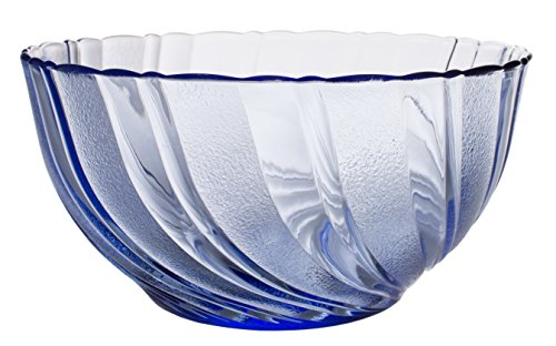 Blue Glass Bowl (Royal Blue Vertical Curved Lines Glass Mixing and Serving Salad Bowl, 9-Inch Dia)