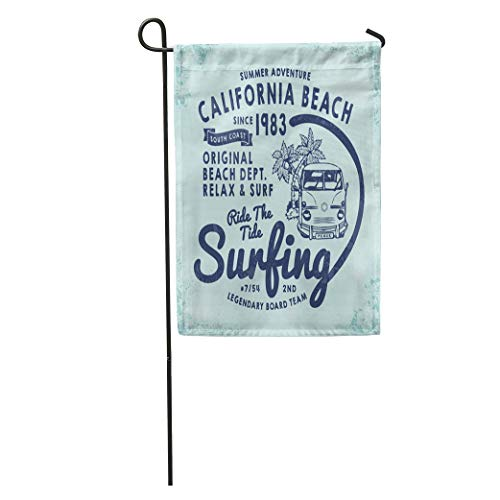 Semtomn Garden Flag California Surf for Tee Retro Summer and Old School Graphic Home Yard House Decor Barnner Outdoor Stand 12x18 Inches Flag
