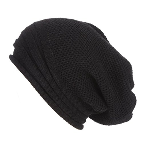 Slouch Beanie, Forthery Mens Women Winter Ski Wool Baggy Hat Skull Beanie Toboggan Knit Hat/Cap (Black)