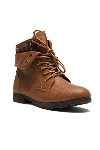 Herstyle Slgabrianna Women's New Winter Lace Up Plaid Fold Down Combat Booties Boots