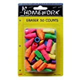 Cap Erasers - Assorted Colors - 50 Count (48 Pieces)