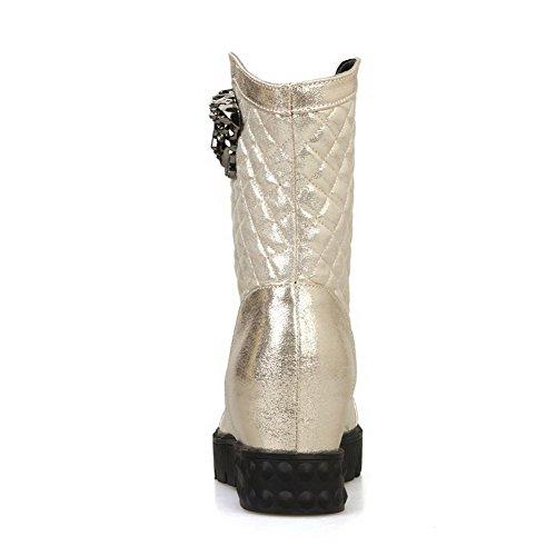 AllhqFashion Damen Mittler Absatz Rein Rund Zehe Weiches Material Ziehen auf Stiefel Silber