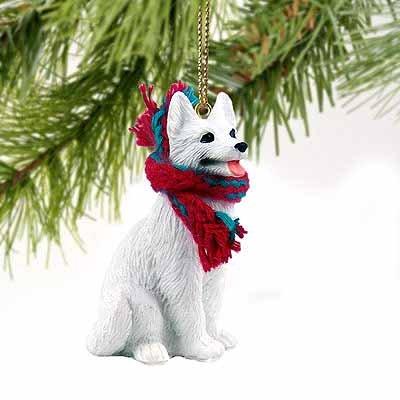 1 X German Shepherd Miniature Dog Ornament - White