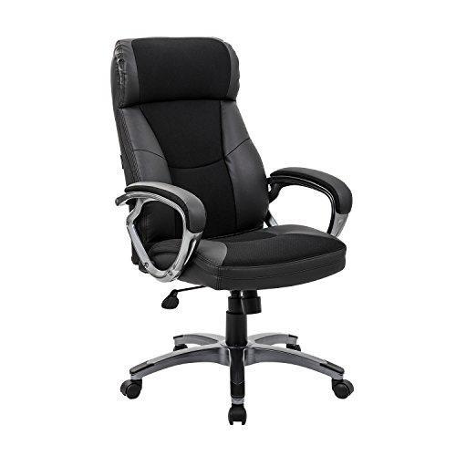 KADIRYA High Back Leather & Fabric Office Chair with Adjustable Tilt Angle - Computer Desk Chair with Thick Padding for Comfort and Ergonomic Design for Lumbar Support (High-Back) - Angle Office Chair