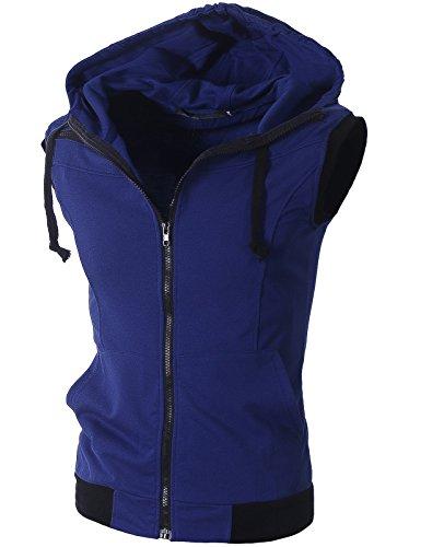 Lende Mens Active Casual Color Blocks Sleeveless Hoodie Zip-up (L, Blue) (Blue Hoodie Vest)