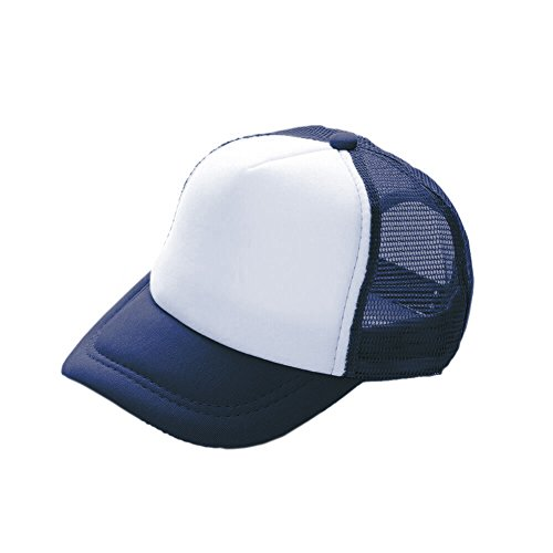(Opromo Kids Two Tone Mesh Curved Bill Trucker Cap, Adjustable Snapback, 23 Colors-Navy/White-1 Pieces )