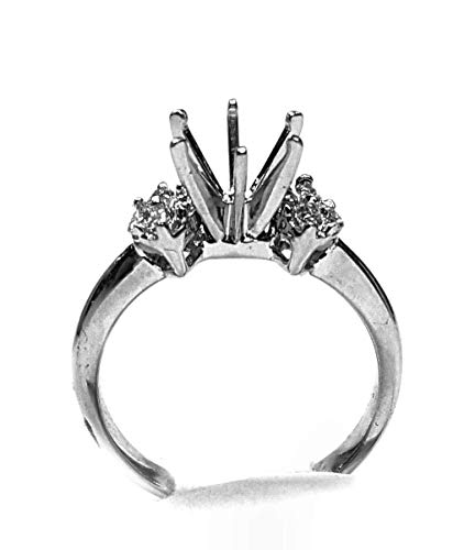 (Diamond Engagement Ring Mounting, Marquise Clusters, 14kt White Gold)