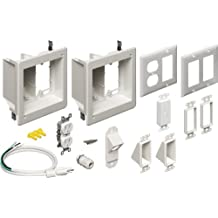 Arlington Industries Inc. TVBR255KGC-1 Flat Screen TV Recessed Kit with Outlet and Wall Plates, 2-Gang, White, 1-Pack