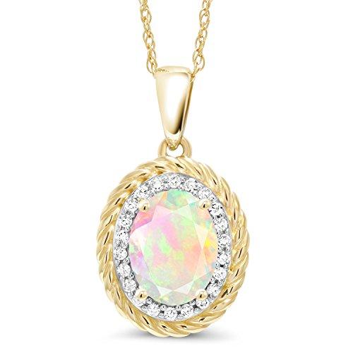 14k Gold Opal Pendant - 0.97 Ct Oval White Ethiopian Opal White Diamond 14K Yellow Gold Pendant