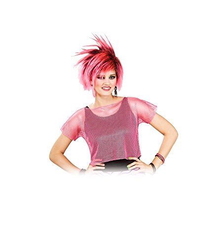 Woman's Rocker Mesh Top, Pink, One Size Costume (Halloween Punk Rocker Costumes)