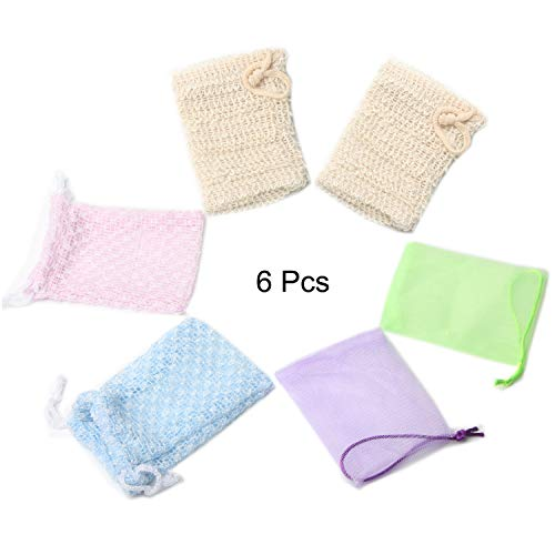 Soap Exfoliating Bag 6 Pcs-Exfoliating Natural Mesh Soap Holder Soap Net Pouch Soap Saver Pouch for Shower Double Layer Bubble Foam Body Facial Cleaning Tool