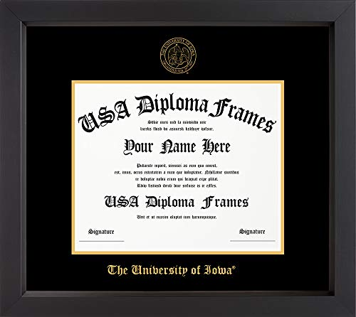 University of Iowa Black Matte Diploma Frame with Black Suede Matting (8.5x11 documents)