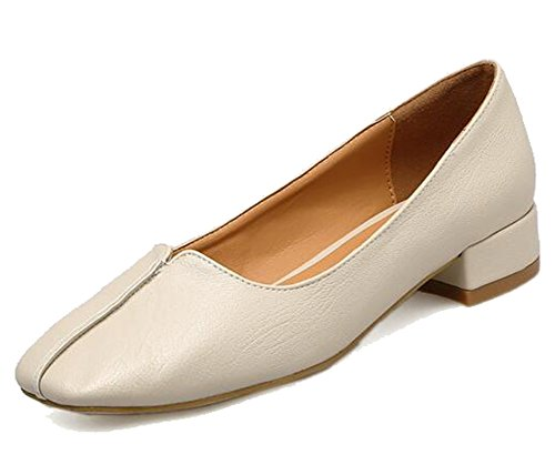 Easemax Mujeres Trendy Stitching Punta Cuadrada Low Top Slip En Low Chunky Heel Pumps Zapatos Albaricoque
