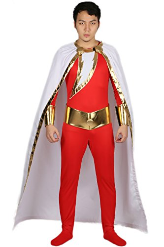 Shazam Costumes (Shazam Costume Deluxe Polyester Skin-tight Bodysuit Outfit Halloween Cosplay Costume M)