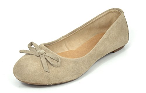 DREAM PAIRS SOL-EASE Women's Casual Solid Plain Ballet Comfort Suede Slip On Flats Shoes NUDE SIZE 11