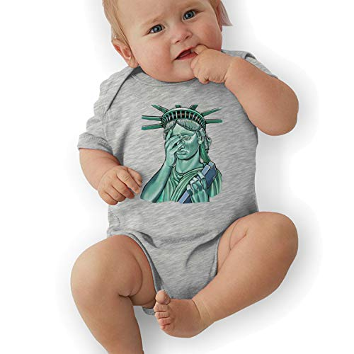 Infant Baby Boy's Bodysuit Short-Sleeve Onesie Funny Statue of Liberty Print Outfit Summer Pajamas]()
