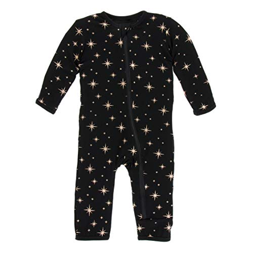 Kickee Pants Little Girls and Boys Holiday Print Coverall with Zipper - Rose Gold Bright Stars, 5 Years -