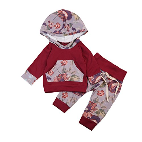 Newborn Baby Girl 2 Sets Floral Print Long Sleeve Hoodies with Pocket+Stretch Pants Outfits Playsuit (12-18Months, Wine Red)
